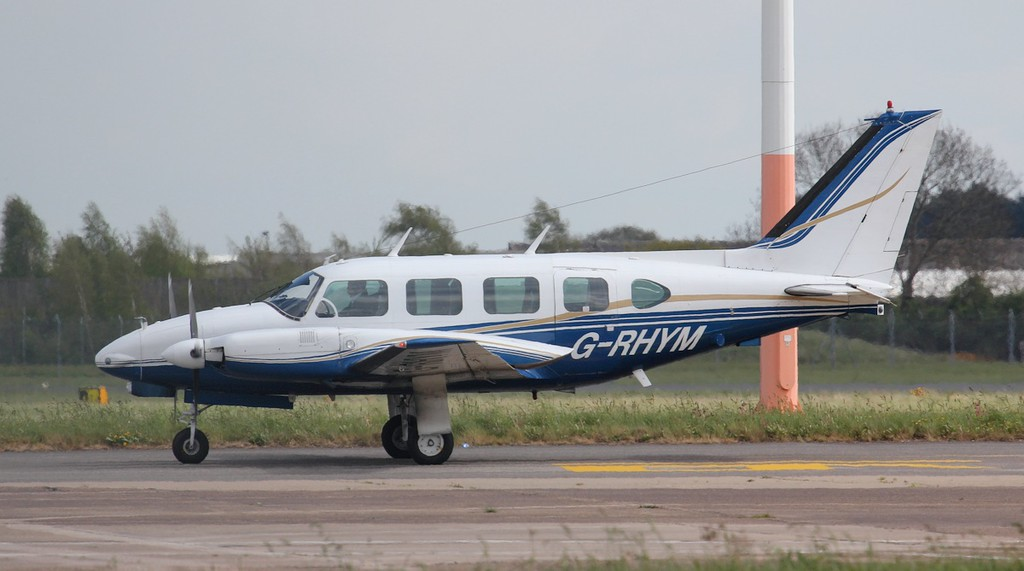2Excels Piper PA-31-310 Turbo Navajo B, G-RHYM, arrived early this afternoon.<br /> By Jim Calow.