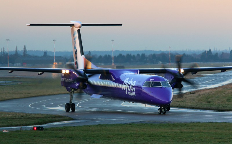 A spot of training.......Flybe DHC-8-400 G-ECOH made the best of a couple of hours sunshine during the afternoon.<br /> By Correne Calow.