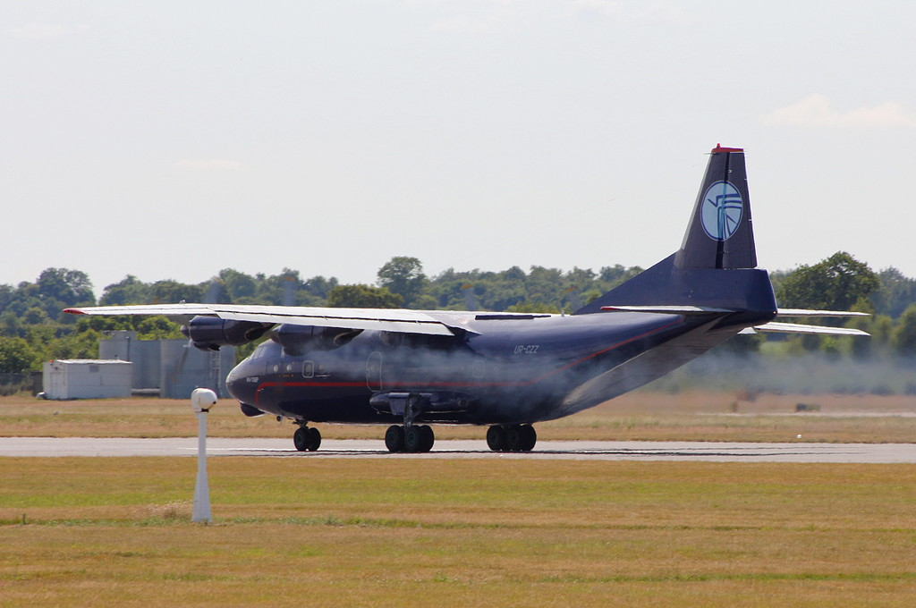 "Ukraine Air Alliance An-12BP UR-CZZ - ""smoke on""<br /> By Clive Featherstone."