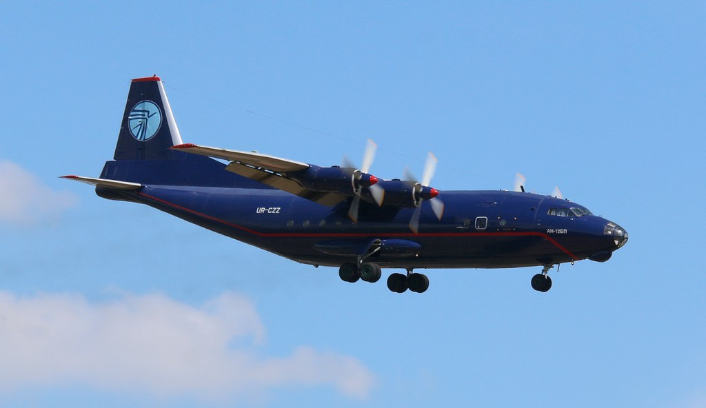 Ukraine Air Alliance An-12BP UR-CZZ arrived early afternoon from Manchester.<br /> By Correne Calow.