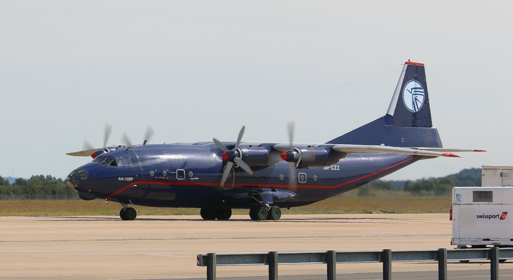 Ukraine Air Alliance An-12BP UR-CZZ taxis for departure to Munster.<br /> By Correne Calow.