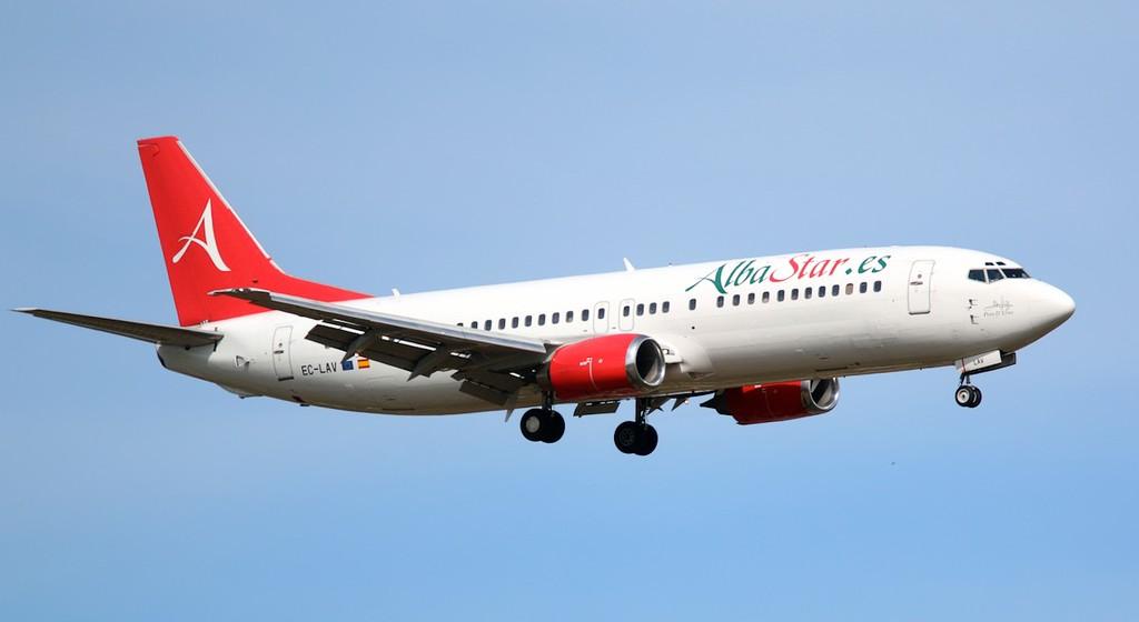 Alba Star 737-400, EC-LAV, arriving from Lourdes.<br /> By Correne Calow.