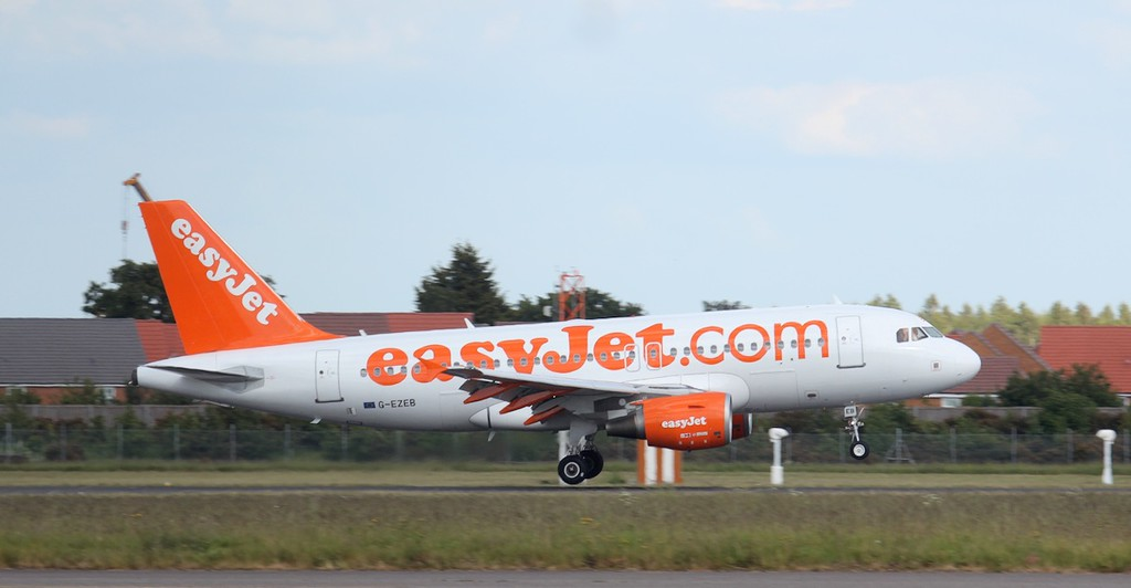 EasyJet A319 G-EZEB was in the circuit this afternoon for training.<br /> By Jim Calow.