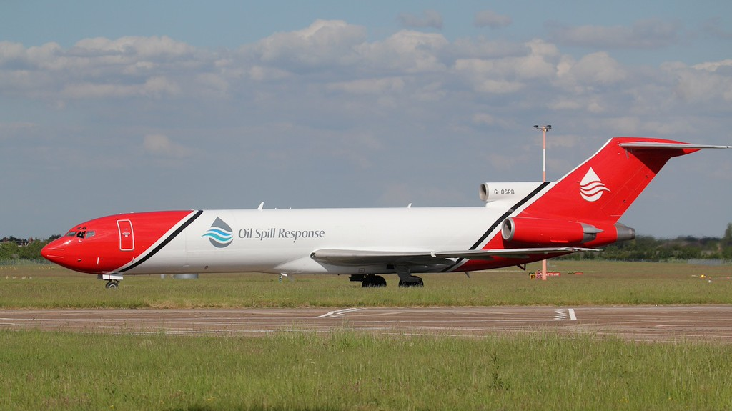 T2 Aviation 727-200 G-OSRB.<br /> By Jim Calow.