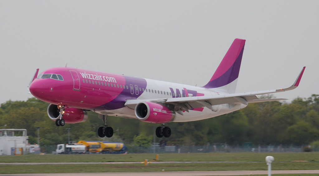 Wizz Air A319 HA-LYB arriving from Bucharest.<br /> By Jim Calow.