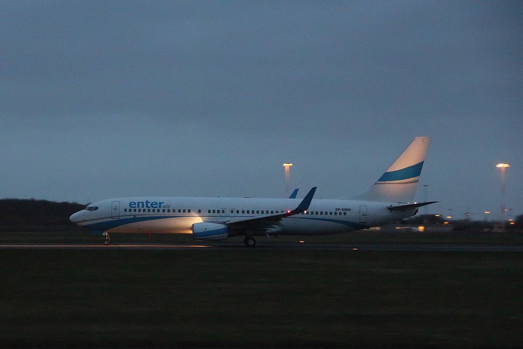 Enter Air 737-800 SP-ENW.<br /> By Clive Featherstone.