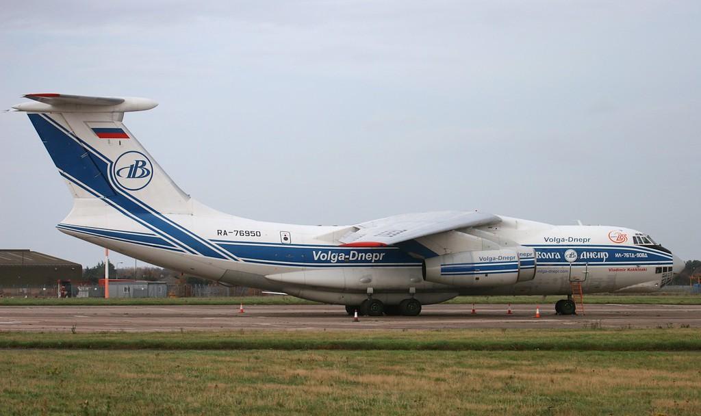 Volga-Dnepr Ilyushin Il-76TD-90VD RA-76950 on stand 17.<br /> By Jim Calow.