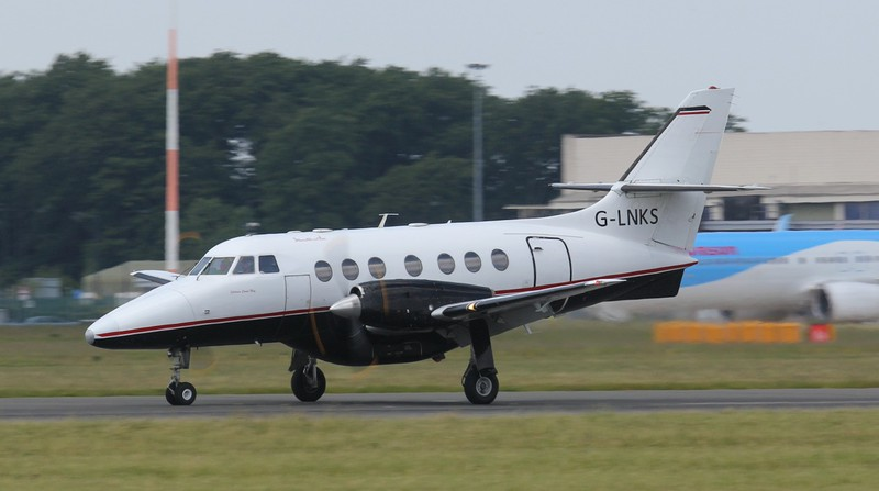Linksair Jetstream 31 G-LNKS arrives for the start of this year Isle of Man service.<br /> By Jim Calow.