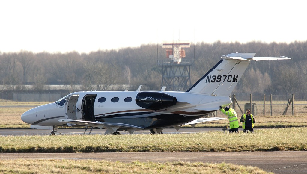 Cessna 510 Mustang, N397CM arrived for maintenance 26th January. <br /> By Jim Calow.