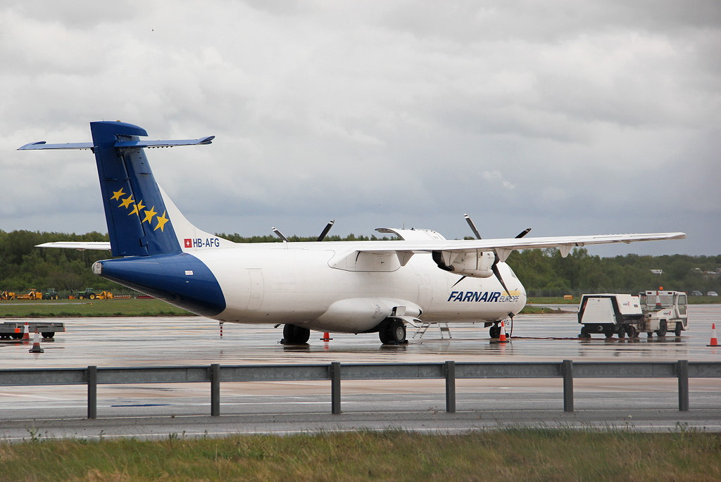 Farnair, ATR-72-201(F), HB-AFG <br /> By Clive Featherstone.