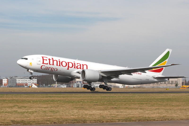 Ethiopian Cargo 777-200F, ET-APS <br /> By Clive Featherstone.
