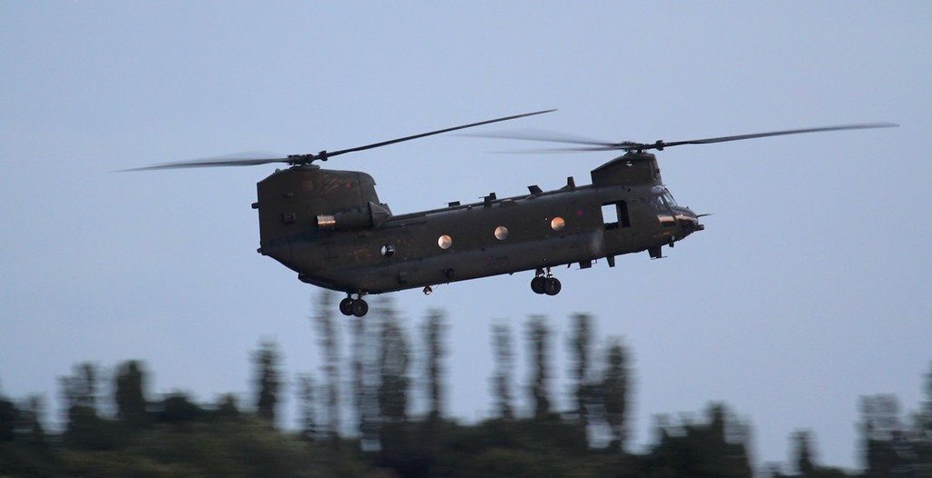 RAF Chinook HC4, ZA713 arrived for fuel at 21:20.<br /> By Jim Calow.