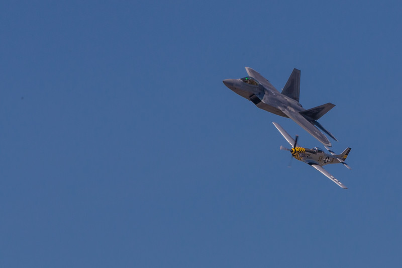 USAF F22 Raptor and P51 Mustang in a Heritage Fly By