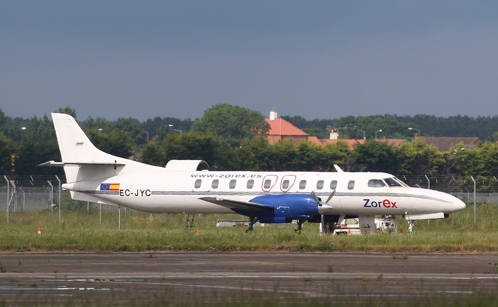 Zorex, SA-226TC Metro II, EC-JYC parked on Stand 13 in the sunshine.<br /> By Correne Calow.