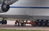 Antonov Airlines An-124, UR-82072 - with the aircraft now back on the runway the towbar was detached.<br /> By Jim Calow.