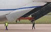 Antonov Airlines An-124, UR-82072 - the towbar was attached to the winch and stowed back  onboard.<br /> By Jim Calow.