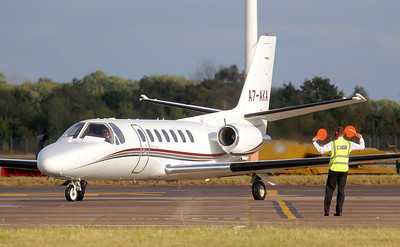 Cessna 560 Citation V, A7-AKA (ex G-PPLC) arrived from Cannes By Jim Calow.