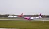 Wizz Air A320 HA-LWP & Air Cargo Global 747-400F OM-ACA.<br /> By Callum Devine.