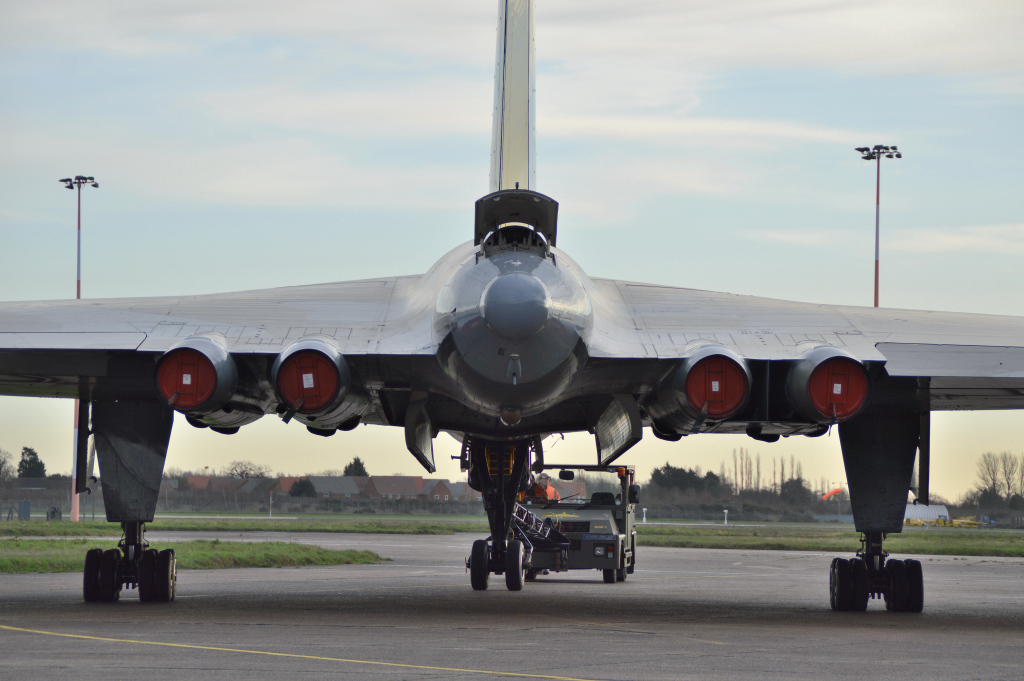 Vulcan XH558 being pushed back towards the hangar.<br /> By Kev Barwell.