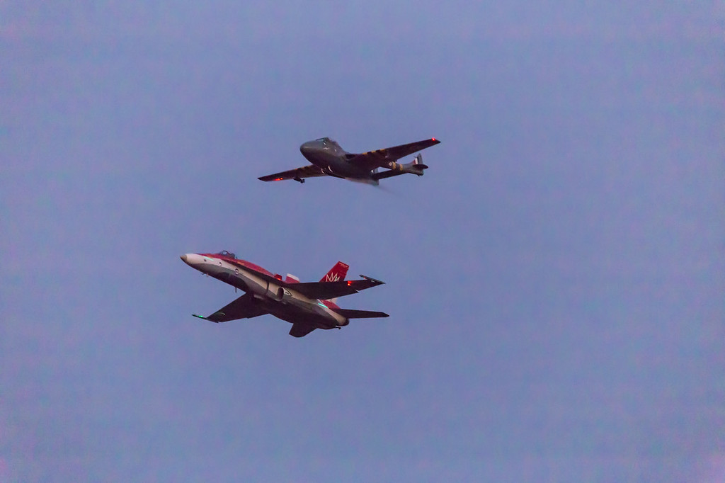 RCAF CF18 and Vampire Heritage Flight