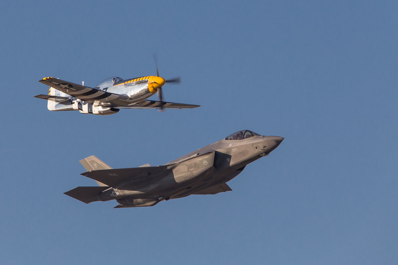 USAF F35 and P51 Heritage Flight