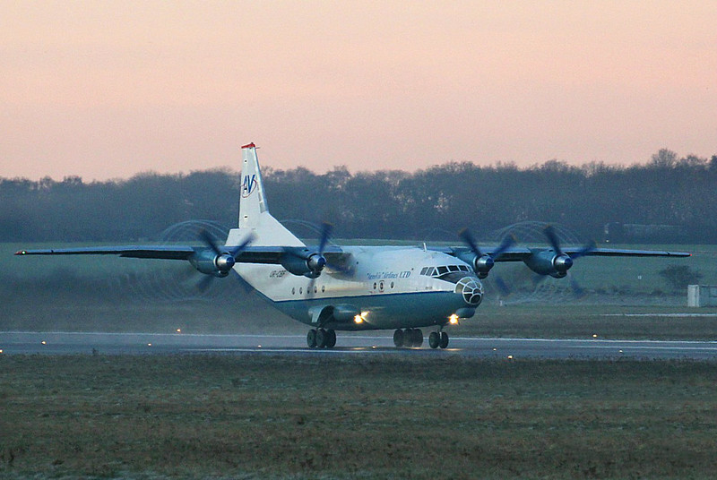 AeroVis Airlines, Antonov An-12-A, UR-CBF<br /> By Clive Featherstone.