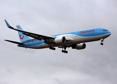 Thomson Airways, 767-300, G-OBYG arriving from Manchester. By Graham Miller.