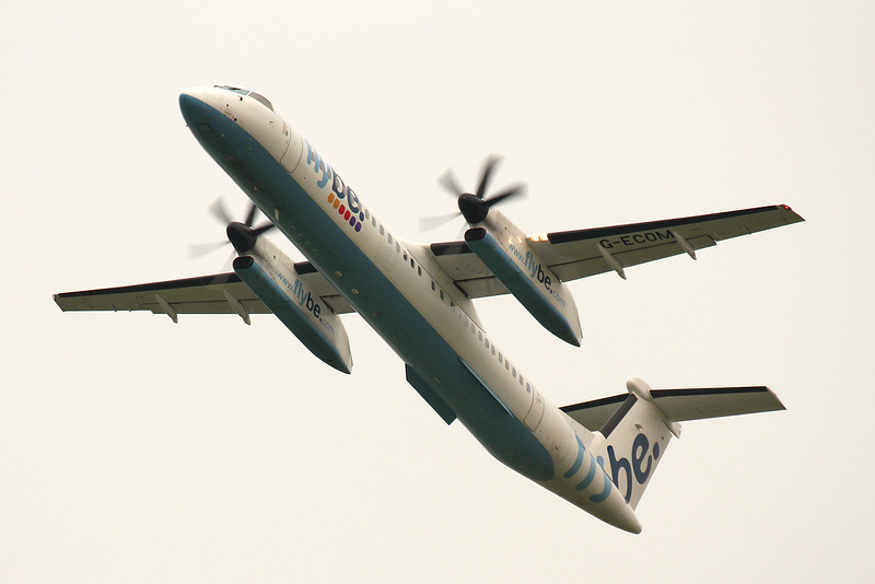 Flybe, DHC-8-400, G-ECOM<br /> By Graham Miller.