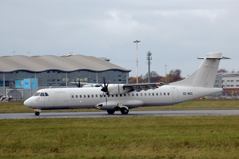 Eastern Airways, ATR-72, SE-MDC<br /> By Clive Featherstone.