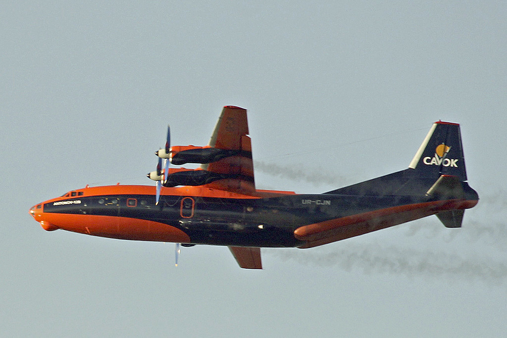 Cavok Airlines Antonov An-12B, UR-CJN.<br /> By Graham Vlacho.
