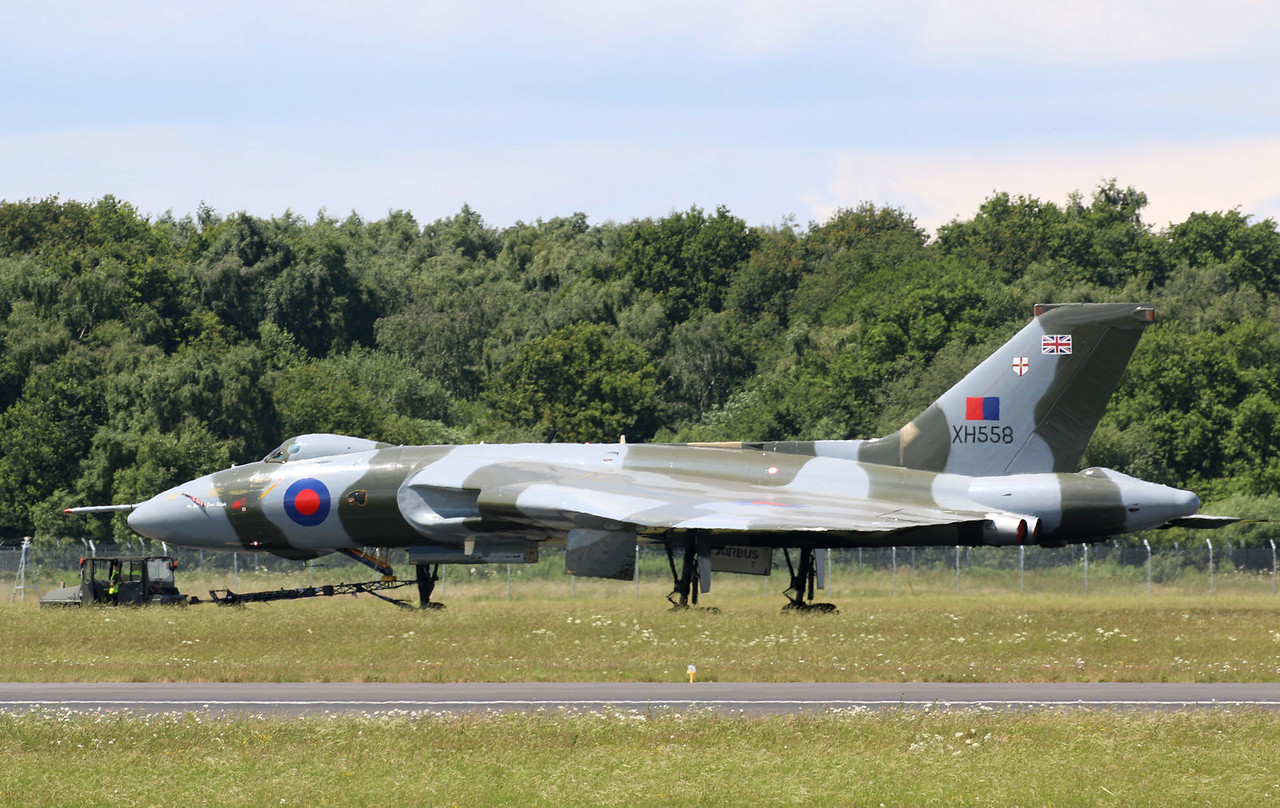 Vulcan B.2 XH558 was towed to the Engine Test Bay for high power engine runs.<br /> By Correne Calow.