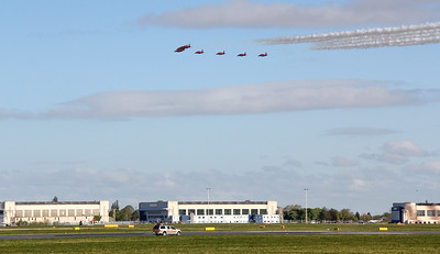 RAF Red Arrows flypast. By Jim Calow.