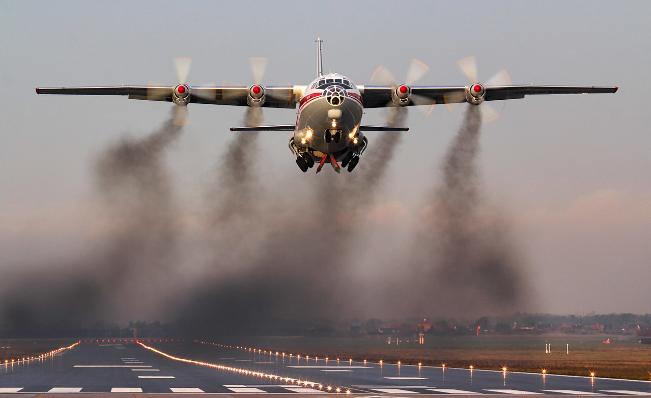 Ukraine Air Alliance Antonov An-12BP UR-CAK.<br /> By Jim Calow.