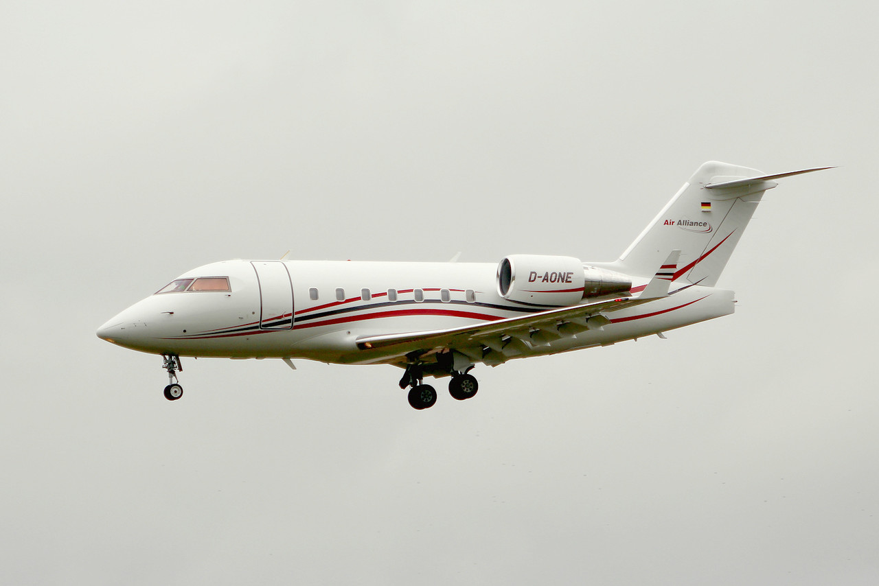 Air Alliance, Bombardier CL-600-2B16 Challenger 604, D-AONE<br /> By Graham Miller.