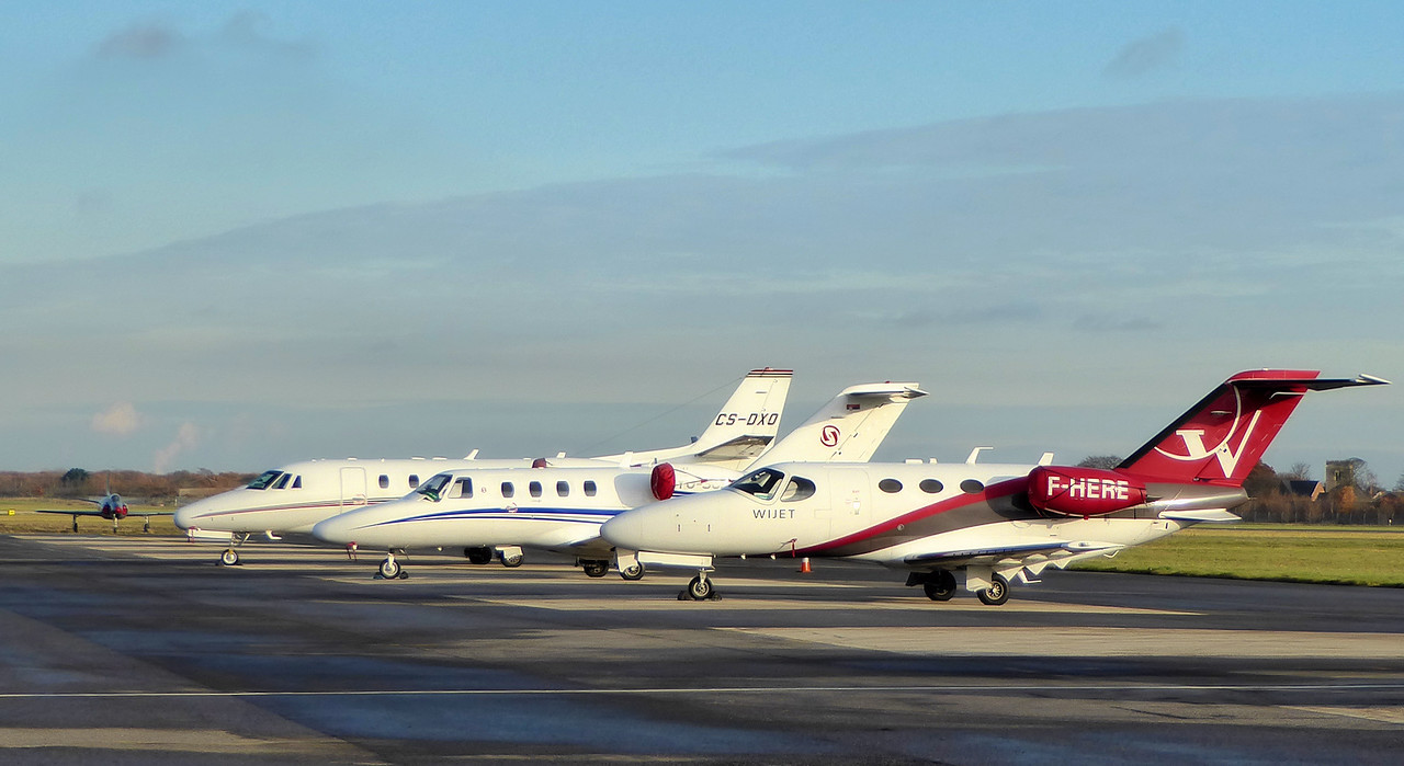 Netjets Europe, Cessna 560XL Citation XLS, CS-DXO and Prince Aviation, Cessna 525 CitationJet CJ1, YU-SCJ and Blink Ltd, Cessna 510 Citation Mustang, F-HERE looked over by Swift F.4 WK275<br /> By Correne Calow.