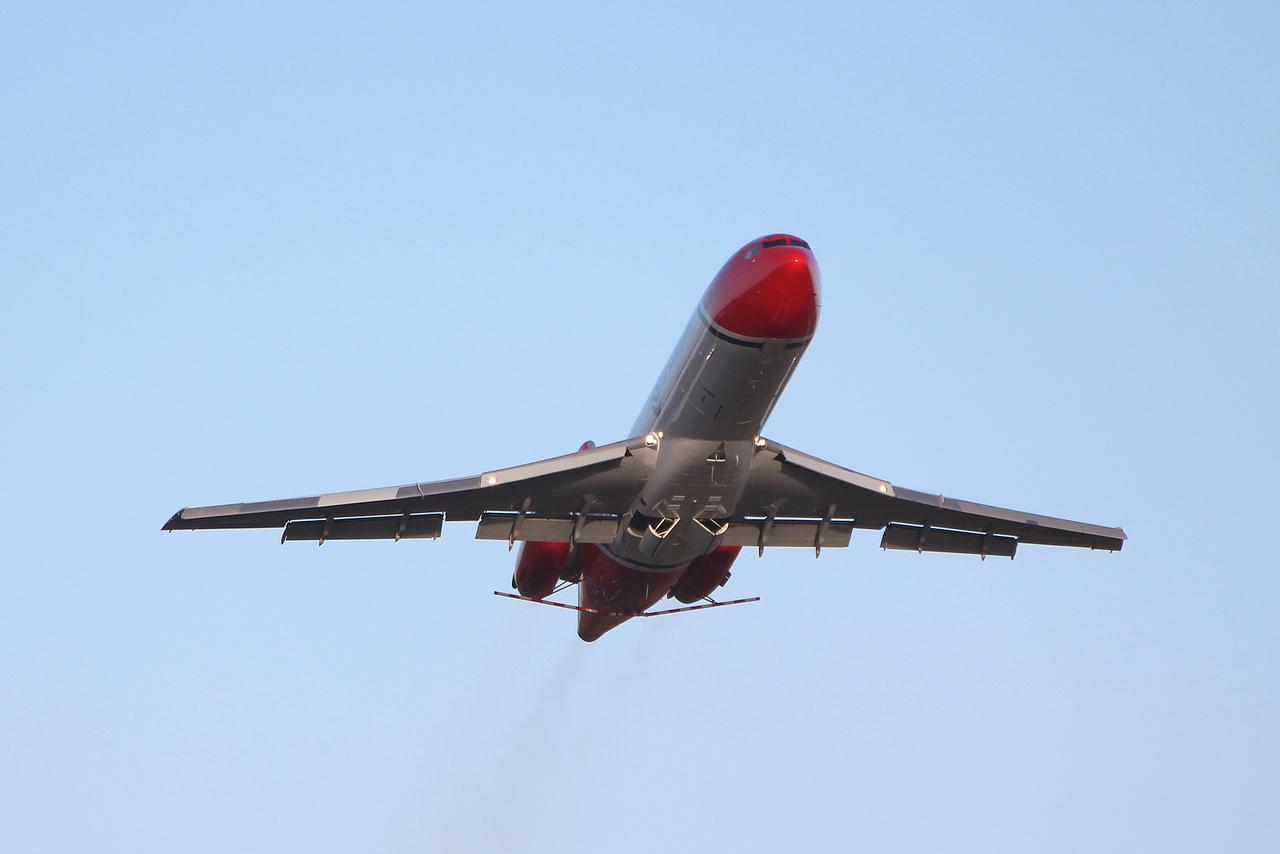 T2 Aviation B727-200F G-OSRA.<br /> By Graham Miller.