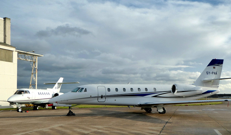Cessna 680 Citation Sovereign, 5Y-PAA and  Westair Aviation Hawker 800XP EI-WXP.<br /> By Correne Calow.