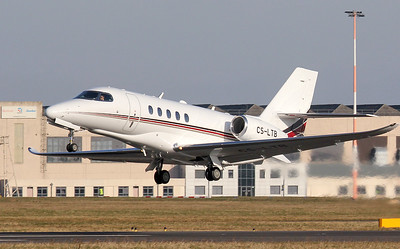 Netjets Europe, Cessna 680A Citation Latitude, CS-LTB departing for Gibraltar. By Jim Calow.
