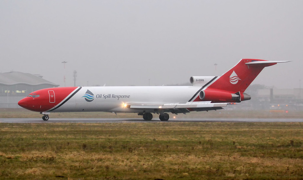 T2 Aviation 727-200F G-OSRB.<br /> By Jim Calow.