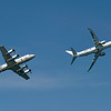 In the lead, an F-8 Poseidon, currently one of the world's most feared maritime patrol planes. It entered service in 2009. Bringing up the rear is a P-3 Orion, an anti-submarine turboprop aircraft due to be phased out in 2023 after 60 years of service.