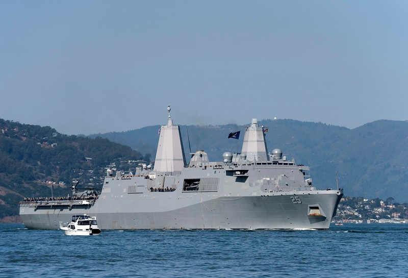 Penny and I saw the airshow from a fishing boat on both Friday and Sunday afternoons.  Friday's show began with a parade of ships.  This is the USS Somerset, a Navy warship built in 2009.