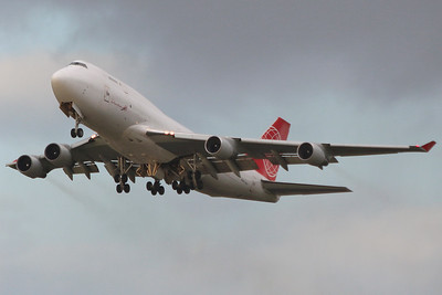 Astral Aviation (Air Cargo Global), 747-400F, OM-ACB departing for Liege. By Graham Miller.