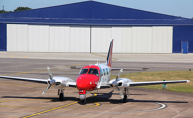 2Excel Aviation, Piper PA-31 Navajo, G-UKCS at the Avgas pumps. By Jim Calow.