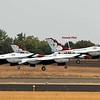 The United States Air Force Thunderbirds demonstration squadron was first up on Friday flying Falcon F-16 fighter jets.  One of 3 female pilots in the show was a member of this team.