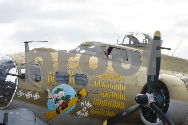The pilot of the B-17 taxis in as part of the Wings of Freedom tour at the Tyler Pounds Regional Airport outside of the Historic Aviation Memorial Museum in Tyler, Texas, on Friday, March 9, 2018. The nationwide Wings of Freedom tour is celebrating its 29th year and visits an average of 110 cities in over 35 states annually.  (Chelsea Purgahn/Tyler Morning Telegraph)