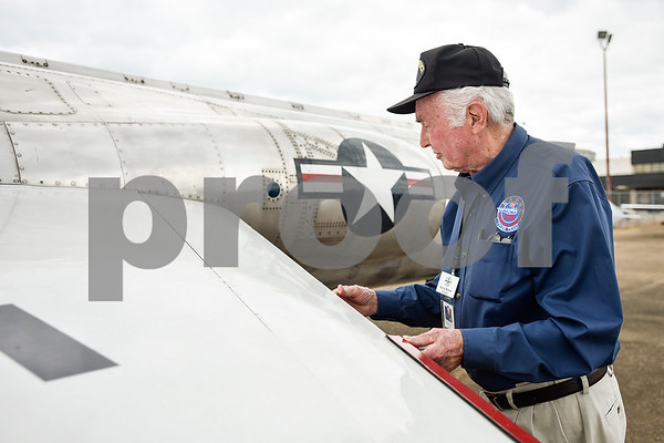 Norm Walker, docent at the Historical Aviation Memorial Museum, talks about various historic planes at the museum in Tyler, Texas, on Tuesday, May 16, 2017. The HAMM staff works to preserve the history of aviation and will be sharing the knowledge during an aviation camp June 27 through July 1 for children 12 to 15 years old. (Chelsea Purgahn/Tyler Morning Telegraph)