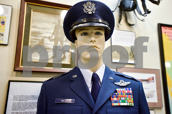Norm Walker's Air Force uniform is photographed at the Historical Aviation Memorial Museum where he is a docent in Tyler, Texas, on Tuesday, May 16, 2017. The HAMM staff works to preserve the history of aviation and will be sharing the knowledge during an aviation camp June 27 through July 1 for children 12 to 15 years old. (Chelsea Purgahn/Tyler Morning Telegraph)