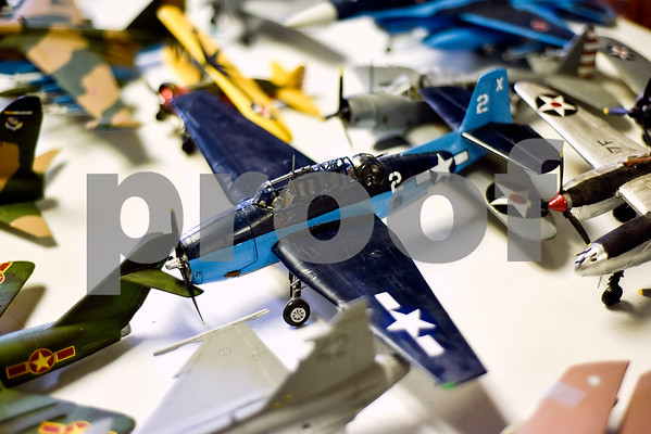 Model planes that are in the process of being repaired are photographed at the Historical Aviation Memorial Museum in Tyler, Texas, on Tuesday, May 16, 2017. The HAMM staff works to preserve the history of aviation and will be sharing the knowledge during an aviation camp June 27 through July 1 for children 12 to 15 years old. (Chelsea Purgahn/Tyler Morning Telegraph)