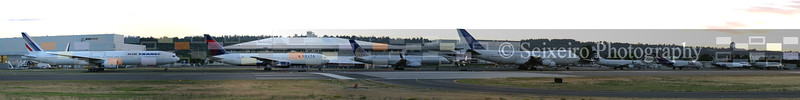 Parade of Sevens.  July 7, 2007 (7/7/07).  Boeing's lineup from 707 through 777 lifted off from Paine Field, landing at Boeing Field - the day before the 787 was rolled out (on 7/8/07)