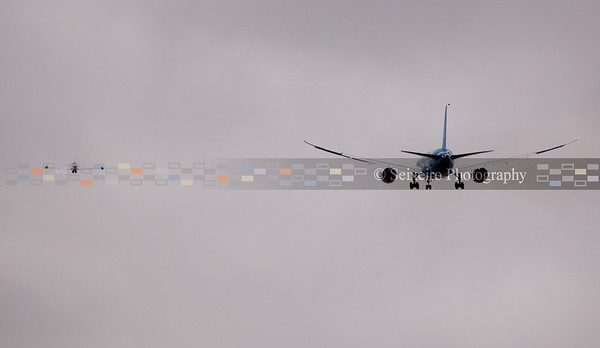 Two T-33 chase planes (one on the left) followed the 787 as it took off until landing.